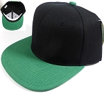 Wholesale Blank Snapback Hats Caps - Black | Kelly Green