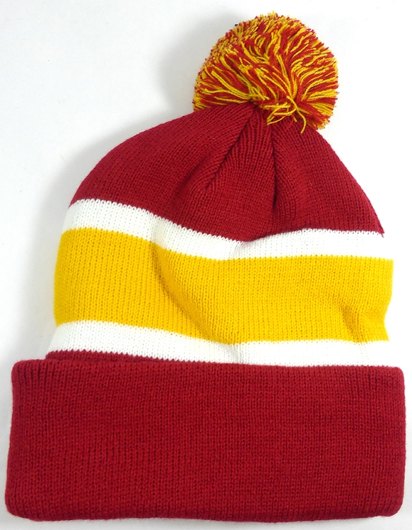 wholesale cardinal golden yellow stripe pom beanie winter hat 01.jpg cad4f47d6c7