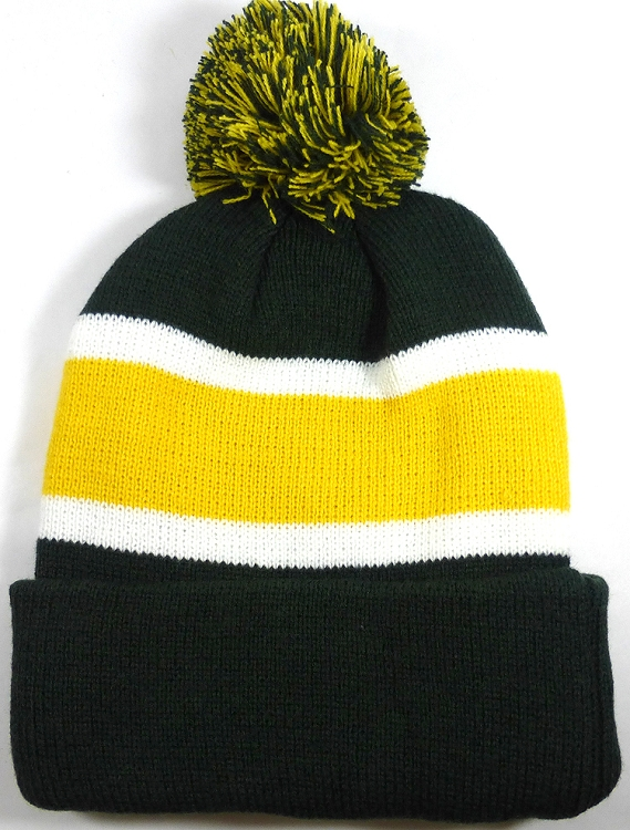 wholesale dark green yellow stripe pom beanie winter hat 01.jpg 12df90cf6f3