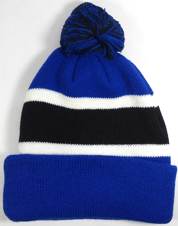 a337fd02 Beanies Wholesale | Pom Pom Beanies Trendy Winter Hats - Royal Blue and  Black