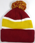 Beanies Wholesale | Pom Pom Beanies Trendy Winter Hats - Burgundy and Mustard Yellow