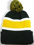 Beanies Wholesale | Pom Pom Beanies Trendy Winter Hats - Dark Green and Yellow