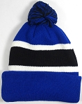 Beanies Wholesale | Pom Pom Beanies Trendy Winter Hats - Royal Blue and Black