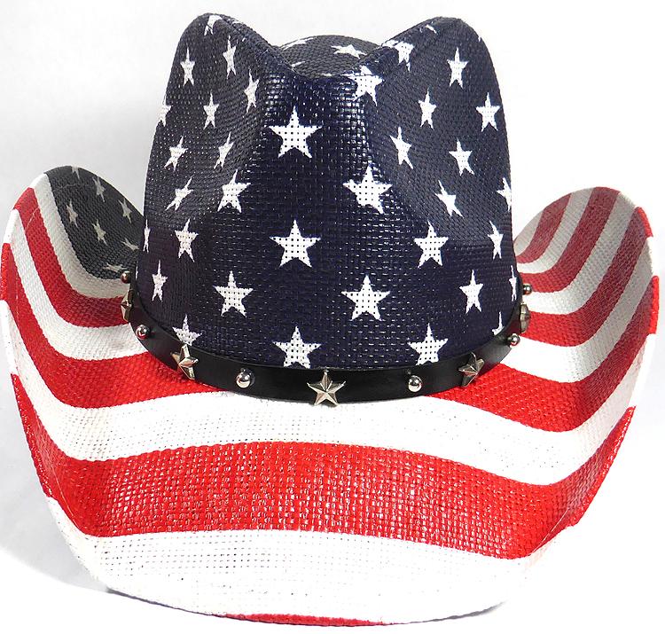 bulk cowboy hats usa american star straw navy red stripes belt 01.jpg fb3aff9c9a48