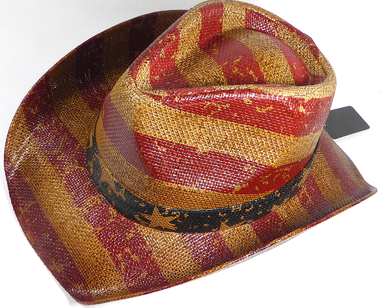 Cowboy Hat Wholesale - American Red and White Stripes - Vintage ... 6aa5b2f383bf