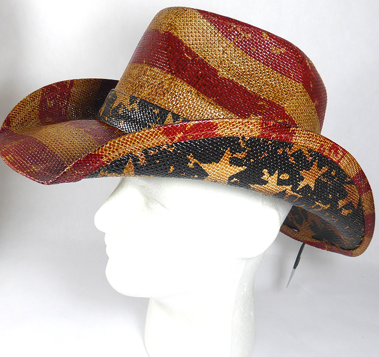 Cowboy Hat Wholesale - American Red and White Stripes - Vintage Brown 8af9fd428442