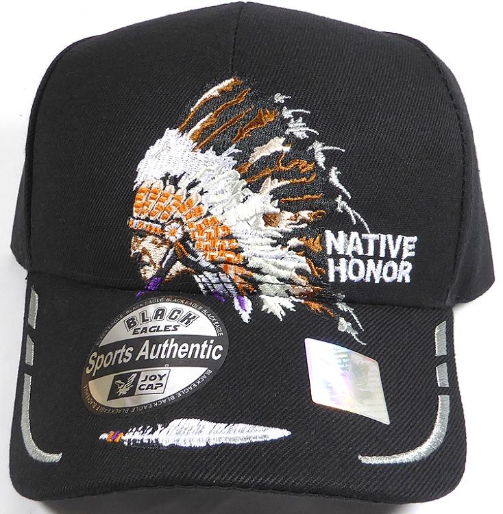e5a2e537fc45f1 Wholesale Native Pride Baseball Cap - Chieftain Honor - Black