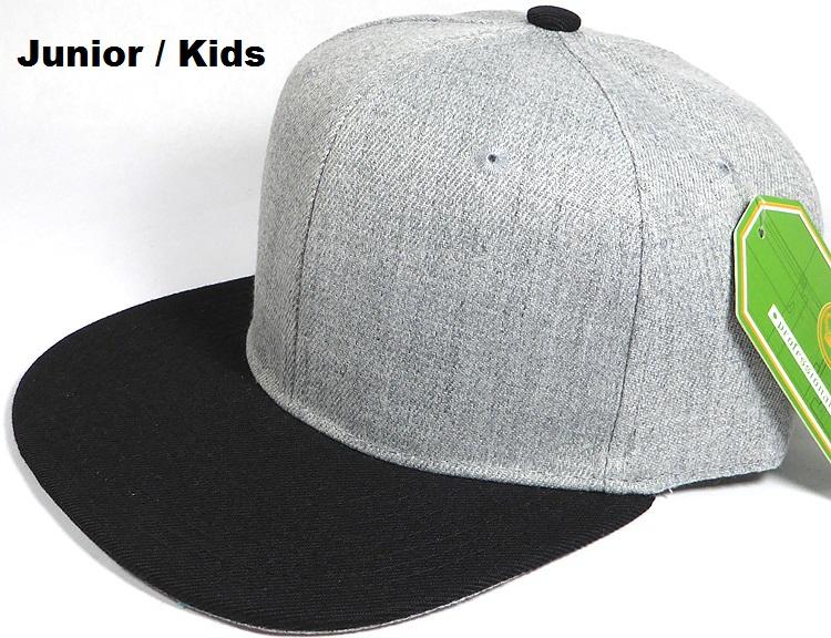 bulk junior kids blank snapback light grey denim black brim 05.jpg 886f052b23e
