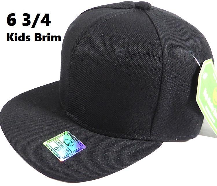 Fitted Size Caps - Wholesale Plain Hat - 6 3 4 - Black (Junior Brim) 9aa95e8c139