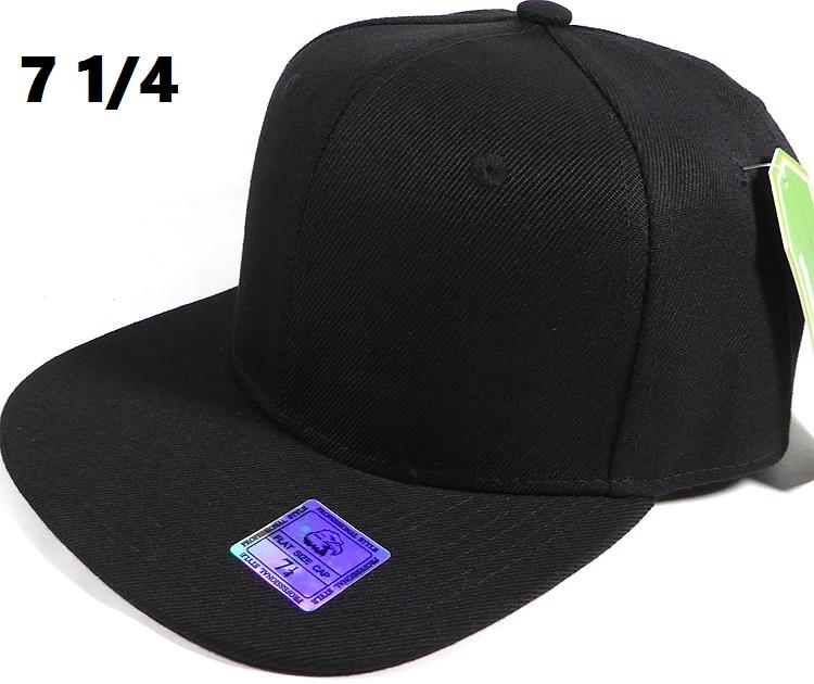Fitted Size Caps - Wholesale Plain Hat - 7 1 4 - Black 5b7711544c4