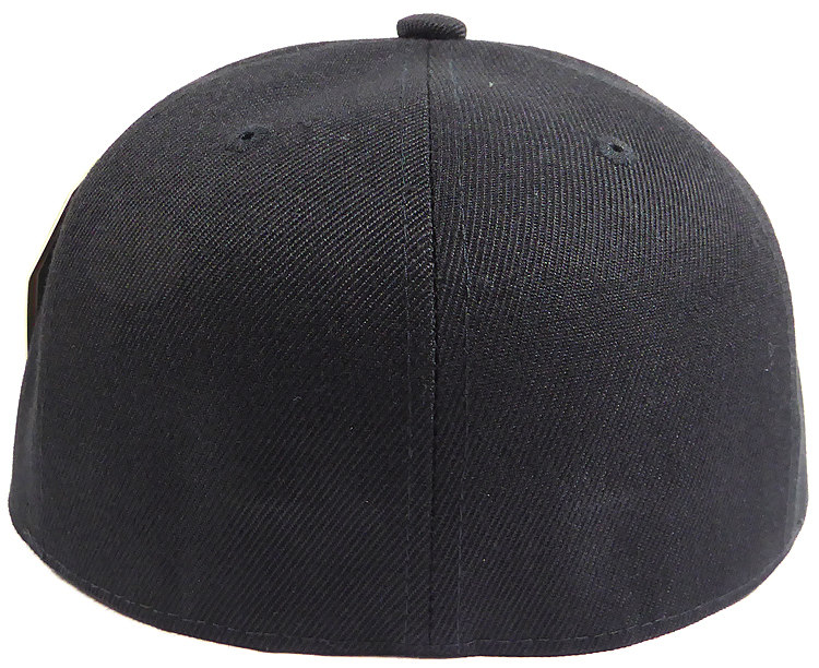 Fitted Size Caps - Wholesale Plain Hat - 7 1/8 - Black
