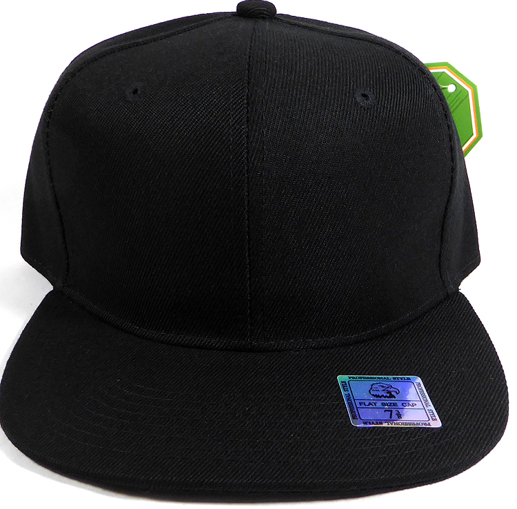 aed4bad66 Fitted Size Caps - Wholesale Plain Hat - 7 3/8 - Black
