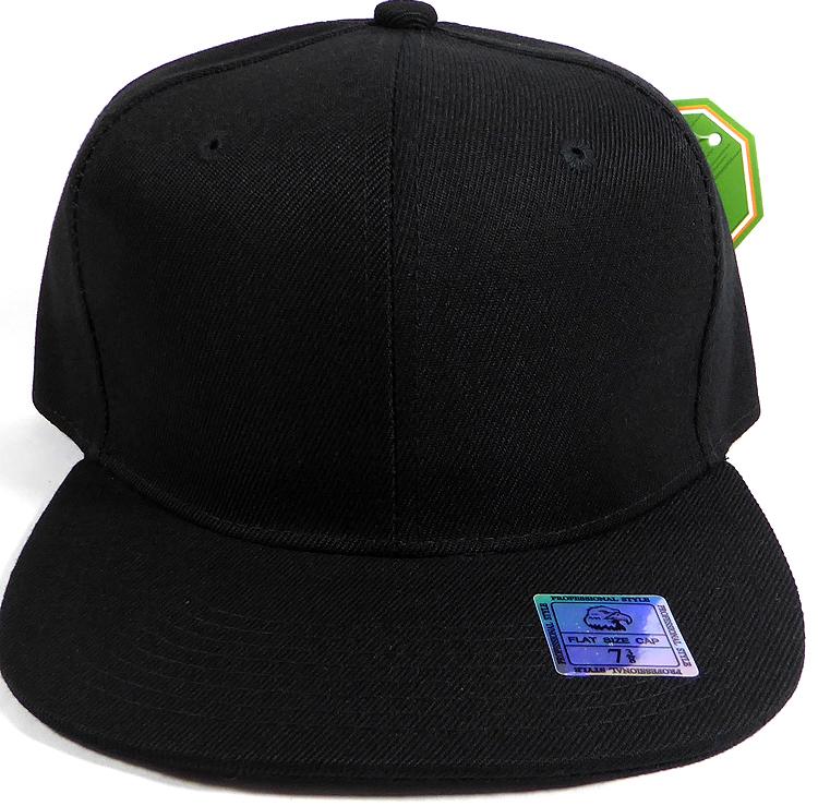 f78df009a776 Fitted Size Caps - Wholesale Plain Hat - 7 3/8 - Black