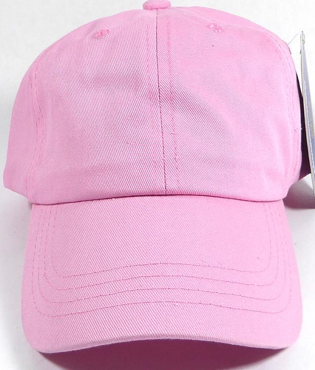 Washed 100% Cotton Plain Baseball Cap - Gold Metal Buckle - Light Pink 6c14d7505a0
