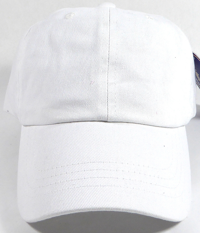 Washed 100% Cotton Plain Baseball Cap - Gold Metal Buckle - White 252873d16a4