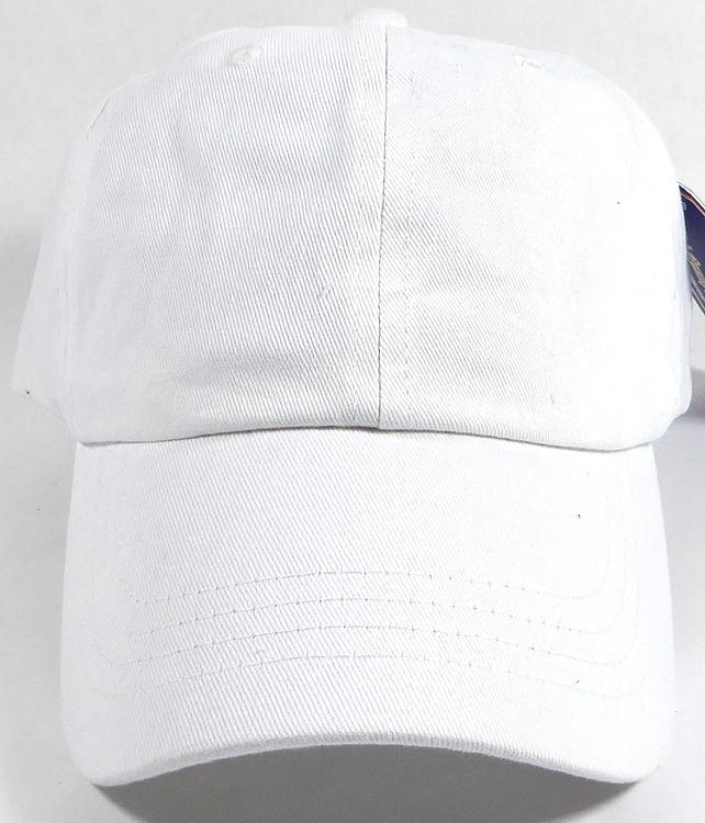 Washed 100% Cotton Plain Baseball Cap - Gold Metal Buckle - White ea291dc3e06