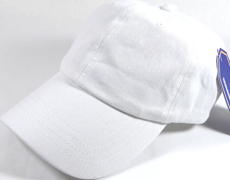 0f093775305f Washed 100% Cotton Plain Baseball Cap - Gold Metal Buckle - White