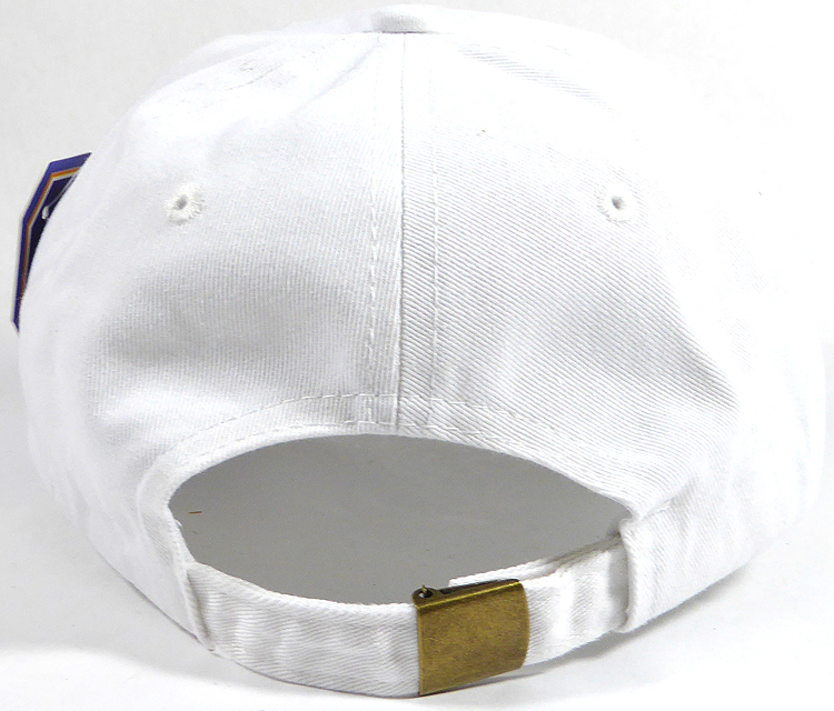 Washed 100% Cotton Plain Baseball Cap - Gold Metal Buckle - White 2788cc2d9db