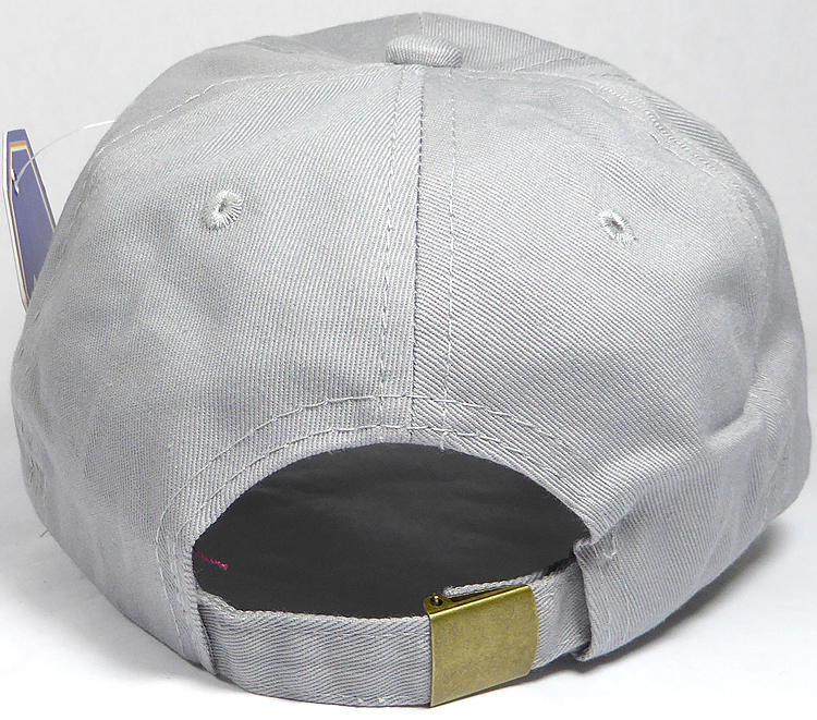 Washed 100% Cotton Plain Baseball Cap - Gold Metal Buckle - Light Gray 56944a07a3f
