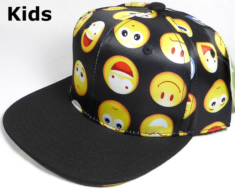 KIDS Jr  Wholesale Blank Snapback Emoji Caps - Black Brim - Black