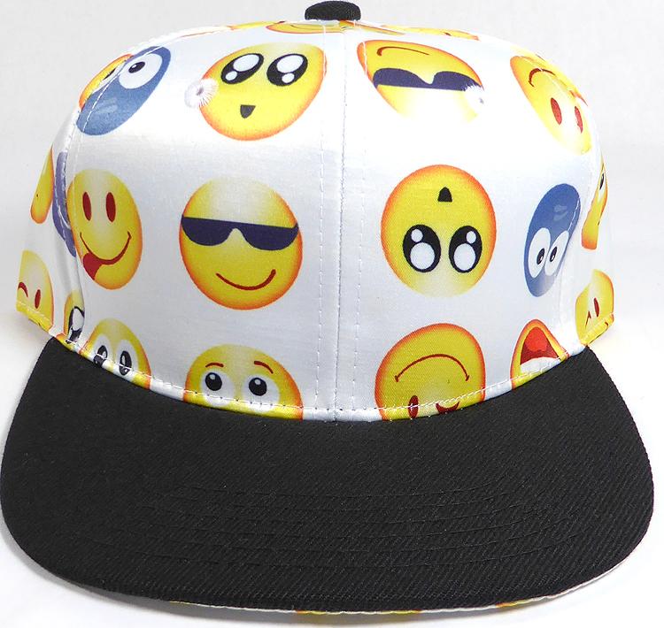 270b9f6531e KIDS Jr. Wholesale Blank Snapback Emoji Caps - Black Brim - White