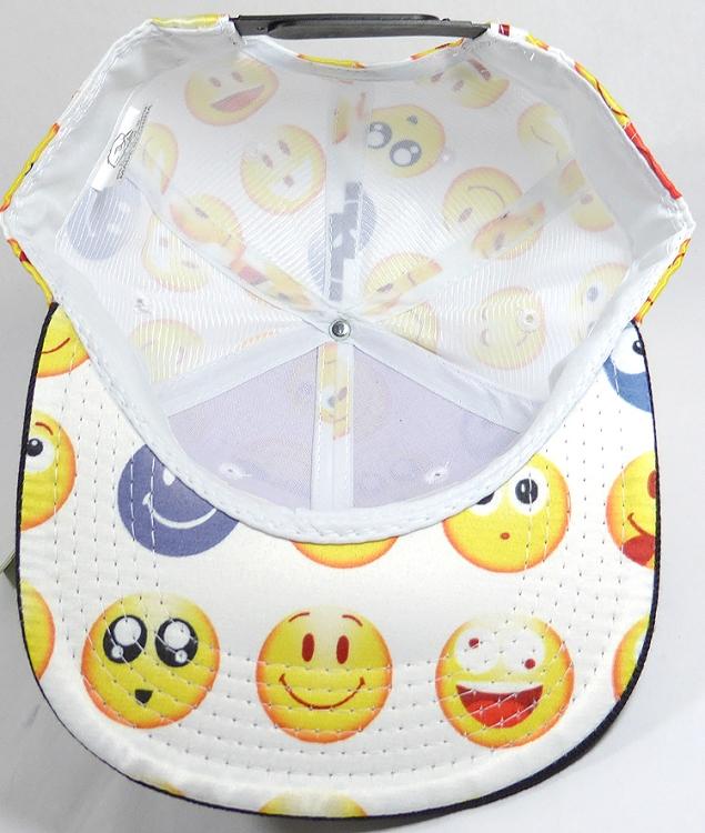 KIDS Jr  Wholesale Blank Snapback Emoji Caps - Black Brim - White