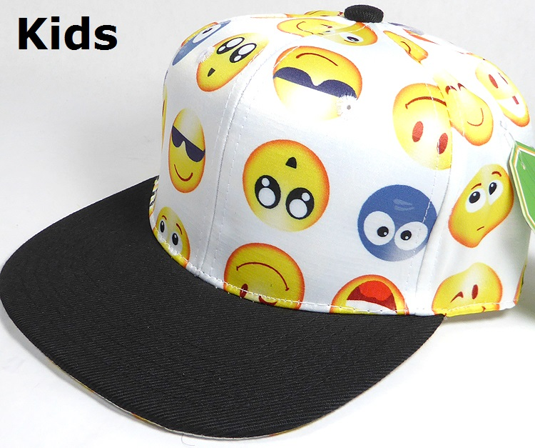 KIDS Jr  Wholesale Blank Snapback Emoji Caps - Black Brim - White