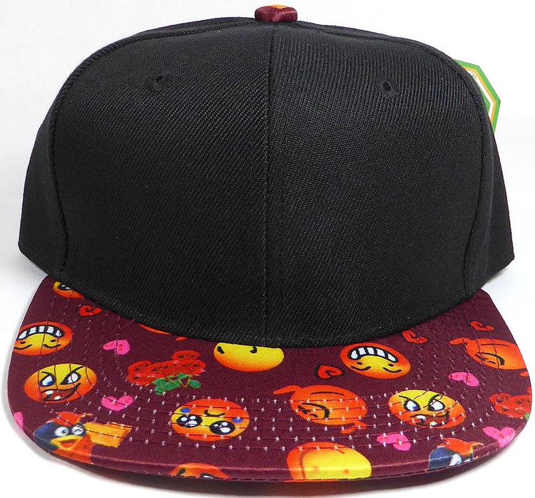 69dad52837b KIDS Jr. Wholesale Blank Snapback Emoji Caps - Black Crown ...