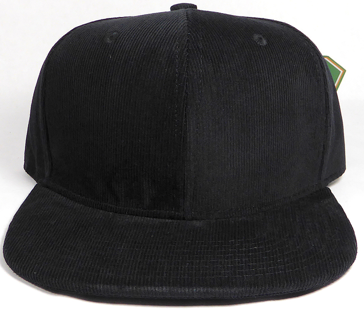 Wholesale Corduroy Blank Snapback Caps - Solid - Black 36946e4daff
