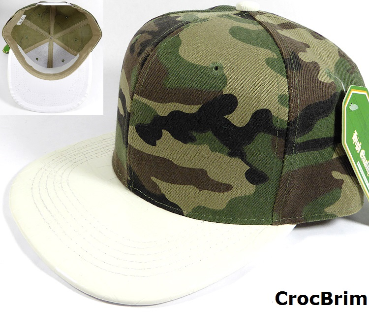 wholesale blank plain alligator croc brim snapback hat camo white 05.jpg 00763600f62