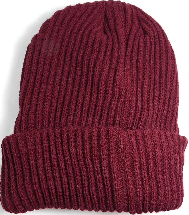 Wholesale Winter Knit Long Cuff Beanie Hats - Solid Burgundy 44664908d36