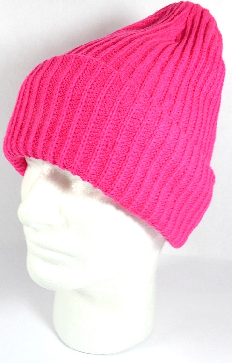 Wholesale Winter Knit Long Cuff Beanie Hats - Solid Hot Pink 4cceb7082b2