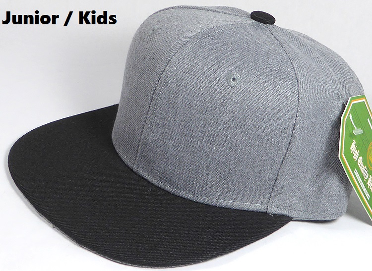 wholesale junior kids blank snapback denim heather grey black brim 05.jpg 7c403f70869