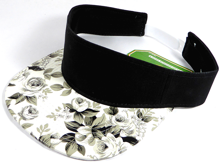 Flatbill Blank Snapback Visors Wholesale - Floral - Black and White Rose 17a1ccb1fcb