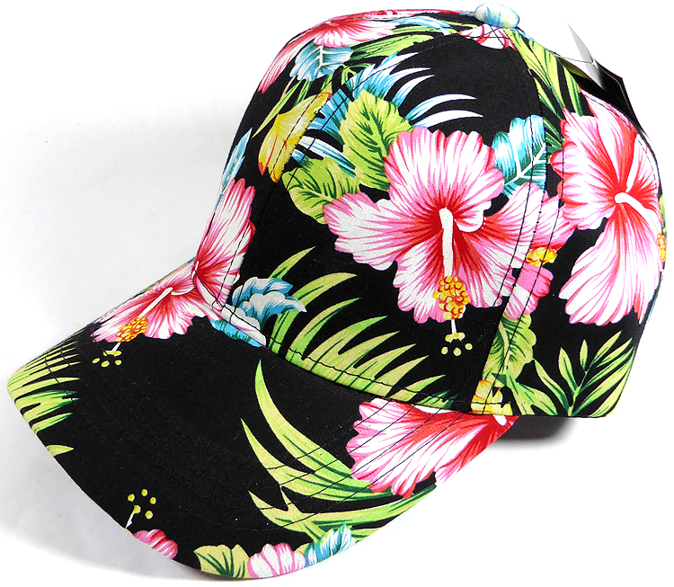 Dad Hat - Baseball Blank Caps - Hawaiian Floral - Black c8cdaa5cb98