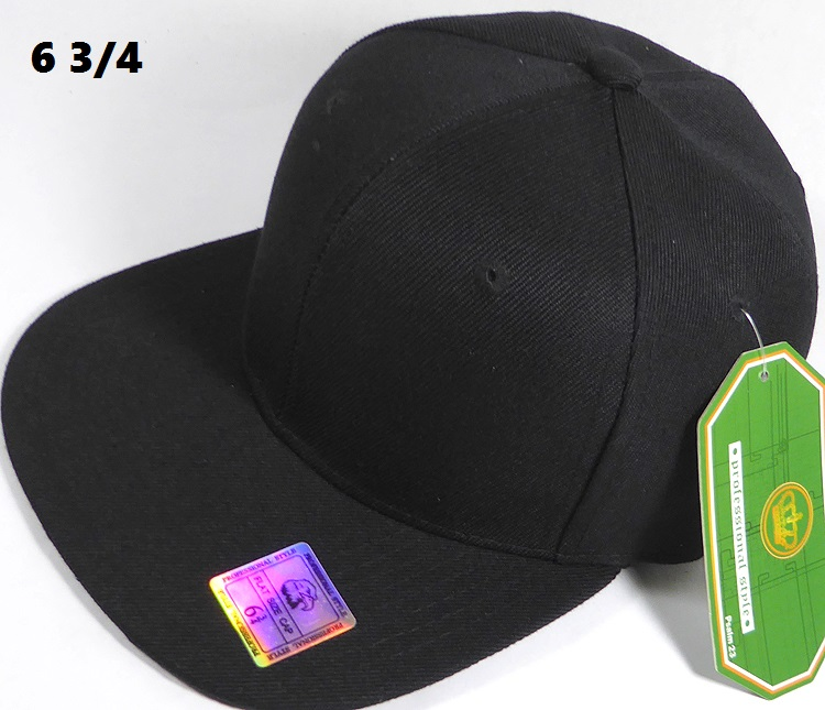 2125adf27cd0 Fitted Size Caps - Wholesale Plain Hat - 6 3 4 - Black