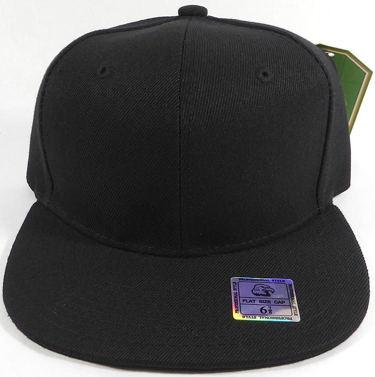 Fitted Size Caps - Wholesale Plain Hat - 6 7 8 - Black bcd92f1d0b7