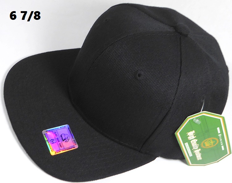 bf3006e9751 Fitted Size Caps - Wholesale Plain Hat - 6 7 8 - Black