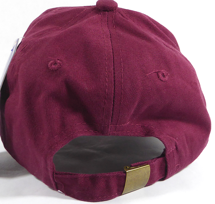 Washed 100% Cotton Plain Baseball Cap - Gold Metal Buckle - Burgundy 422d43f97b8