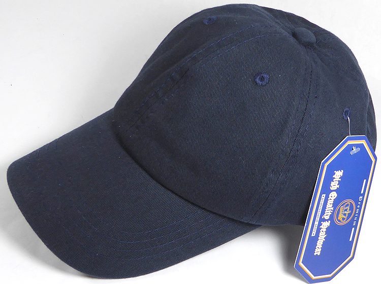 Washed 100% Cotton Plain Baseball Cap - Gold Metal Buckle - Navy Blue 70e98144af7