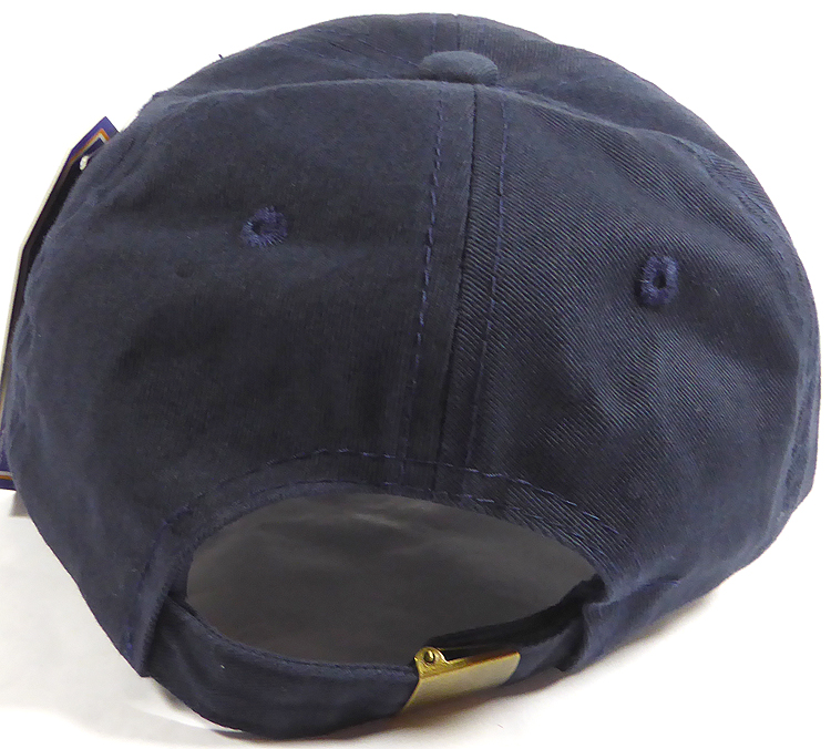 a60f99a6fe Washed 100% Cotton Plain Baseball Cap - Gold Metal Buckle - Navy ...