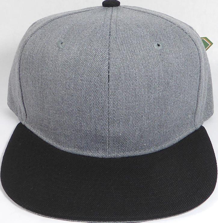 Wholesale Blank Snapback Cap - Denim Heather Grey - Black Brim 71967b28273
