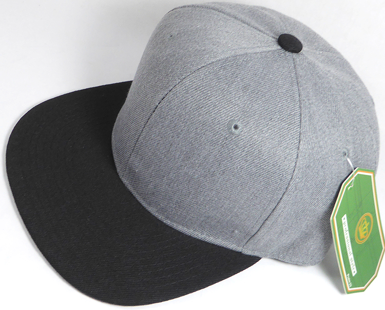 Wholesale Blank Snapback Cap - Denim Heather Grey - Black Brim 0541fc84cf2