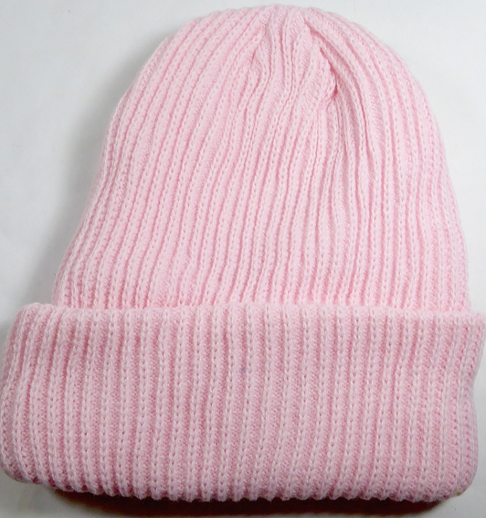 6f18e1c45c Wholesale Winter Knit Long Cuff Beanie Hats - Solid Light Pink