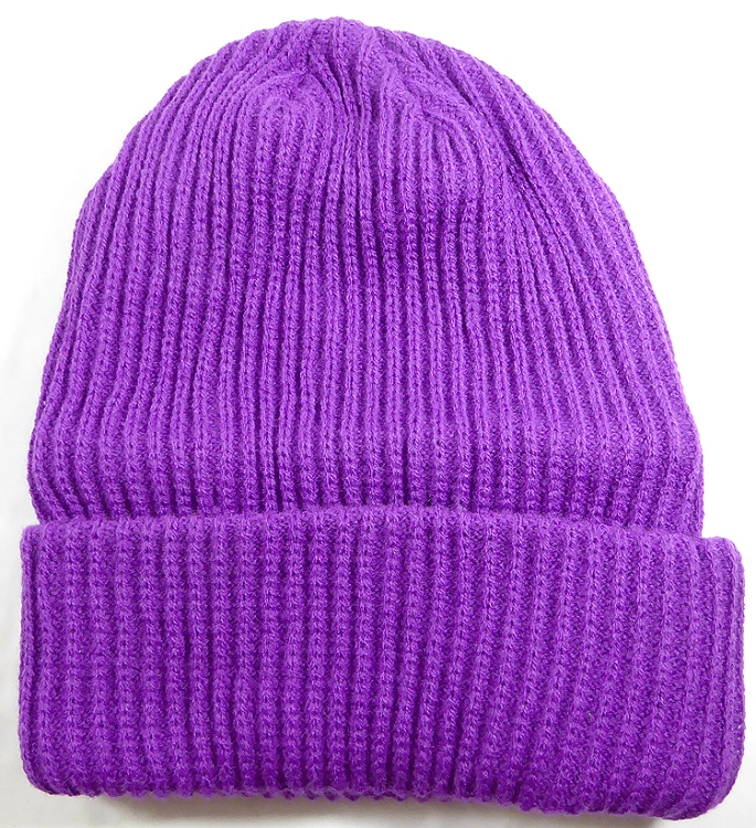 Wholesale Winter Knit Long Cuff Beanie Hats - Solid Purple 55f23aab117
