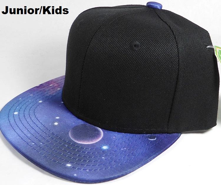 19982b4e wholesale junior galaxy kids snapback hats blank blue black top 05.jpg
