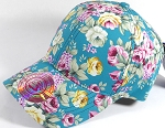 Wholesale Dad Hat - Floral - Turquoise Rose
