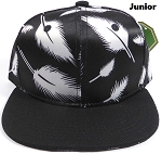 KIDS Jr. Plain Snap back Hats Wholesale - Feather - Black (Black Brim)