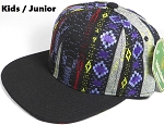 KIDS Jr. Plain Snap back Hats Wholesale - Aztec Blue Diamond - Black Brim