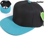 KIDS Jr. Plain Snap back Hats Wholesale - Two Tone - Black | Turquoise